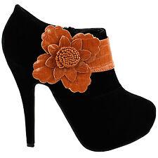 Elegant Black Brown Floral Zipper Platform High Heel Stiletto Ankle Bootie Pumps