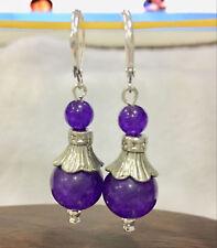 Handmade Bold Purple Amethyst Tibetan Silver Silver Earrings 6-12mm