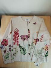ORVIS Ladies Heritage Cotton Beige Floral Flowers Jacket Button Up SIZE S BNWT