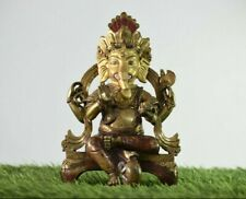 9 Inches Bronze Finish Lord Ganesha Home Temple Statue Real Gold Work On Face