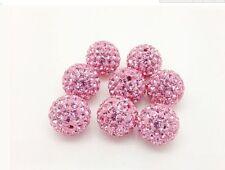 LOT100pcs 10mm 6 row pave disco crystal shamballa beads bracelet spacer DIY AB