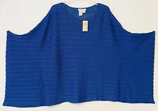 NWT Coldwater Creek Royal Blue Shimmer Poncho Sweater Size M/L MSRP $119.95