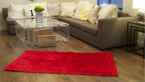 Room Decor Home Accents shaggy fake fur 5'x8' Red rug Contemporary Nursery