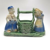 Shawnee Pottery Wishing Well Planter With A Dutch Boy & Girl Blue