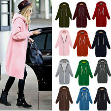 Size UK Women Long Sleeve Zip Up Hooded Hoodie Jacket Jumper Cardigan Coat Plus