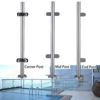 High Glass Balustrade Railing Glazing Stainless Steel Pole Handrail Garden 110cm