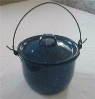 Vintage Blue & White Speckled Enamelware Small Stock Pot with Handle & Lid