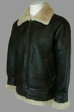 Mens Aviator B3 Ginger Dark Brown Fur Lined Bomber Winter Leather Jacket