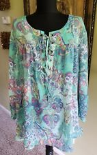 Spense Womens Plus Green Pink Foral Boho Peasant Blouse Tunic Top Shirt 1X