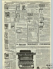 1906 PAPER AD Merchants Typewriter Early Vintage Miniature Desk 12 Compartments