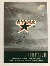 2000-01 SPx Rookie Redemption Card Dallas Stars #RR10