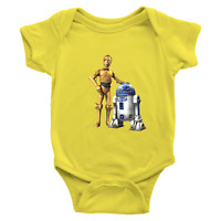 Infant Baby Rib Bodysuit Jumpsuit Romper Gift Star Wars R2D2 C-3PO Robot Droid
