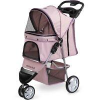 Pet Stroller Cat Dog 3 Wheel Walk Jogger Travel Folding Carrier PINK