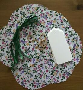 6 Fabric Jam Pot Lid Covers White Summer Floral 6 X covers labels band  and ties