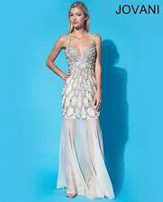 Jovani Light Yellow Embellished Sheer Illusion Prom Evening Dress Sz 8 NWT