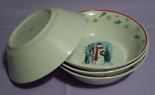 LOT of 4 Christmas Trees Snowman Wreath Snowflakes Holiday Soup Cereal Bowls 7""