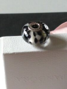 Genuine, Pandora Moments S925 ALE, Black & White Blossom XL Murano Charm 790752