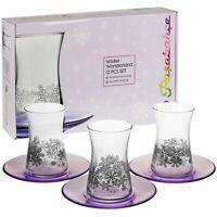 6 Pasabahce Decorative Glass Tea Light Holders Plates Winter Christmas Wedding