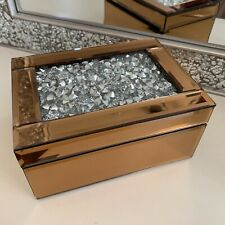 jewel diamante Mirrored Jewellery Box Trinket Storage drawer Organiser - copper