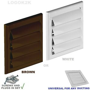 Gravity Flaps Louvre Cover Air Vent Grill White Brown Ventilation Duct Fan Wall