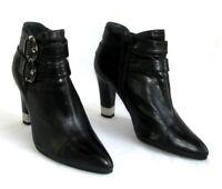 STUART WEITZMAN - Bottines zip talons 9 cm cuir noir 36.5 37 - EXCELLENT ETAT