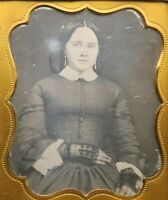 Pretty Young Lady with Bow In Hair Wearing Black Gloves 1/6 Plate Daguerreotype