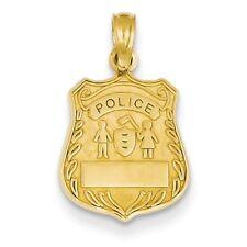 14K Yellow Gold Police Badge (21x12mm) Pendant / Charm