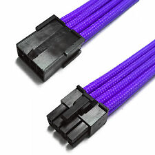 8 Pin PCIE GPU Purple Sleeved Power Supply Extension Shakmods + 2 Cable Combs