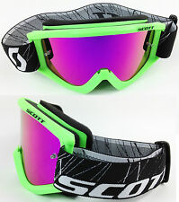 SCOTT RECOIL XI MOTOCROSS MX GOGGLES GREEN with GOGGLE-SHOP PINK MIRROR LENS NEW