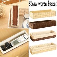 Rectangular Grass Woven Storage Basket Home Container Organizer Kitchen Room