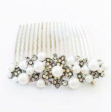 USA Hair Comb Rhinestone Crystal Bridal wedding Vintage Party Silver Pearl 01