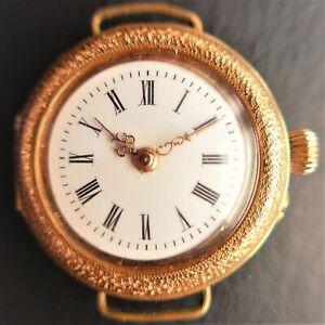Ladies Pocket, Armbanduhrenumbau, Gold, Zylinderhemmung-Gute Funktion-ca.1900