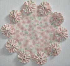Watercolor Floral Table Centerpiece Pink Flower YoYo Candle Mat Pastel Doily
