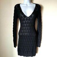 Black Metallic Sweater Dress Women S E by eci Cable Knit EUC Open Weave Short