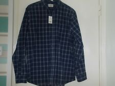 LOVELY  NAVY  CHECK  SHIRT.    SIZE L.   NEW  WITH  TAGS.   GEORGE