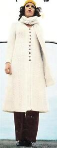 MAXI COAT / 3 lengths & SCARF - 8ply or D.K. - COPY ladies knitting pattern