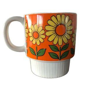 Vintage 1960s / 1970s Yellow Daisy on Orange background Stackable Mug - Japan