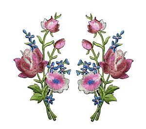 #5093P Lot 2Pcs Pink Rose Flower Embroidery Iron On Appliqué Patch/Pair