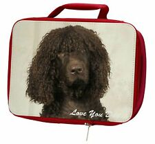 More details for irish water spaniel 'love you dad' insulated red school lunch box/pic, dad-59lbr
