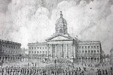 Antique c.1830s Pencil Study of the Place Royale de Bruxelles; Joseph Lemercier