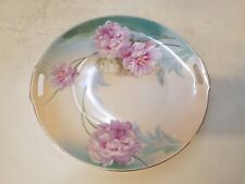 Vtg Possibly Ant R & S Germany Tillowitz Silesia Floral Handled Cake Plate