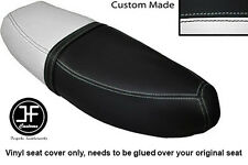 BLACK & WHITE VINYL CUSTOM FITS HONDA C90 CUB SQUARE LIGHT MODEL DUAL SEAT COVER