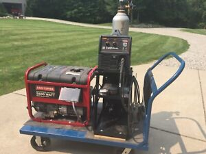 portable Lincoln mig welder and craftsman generator with cart and tank