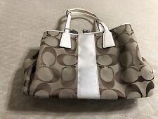 Coach F13533 Khaki/White Signature Kisslock Handbag Pre-Owned
