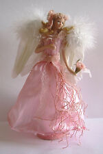 A PINK  ANGEL TASSEL DOLL Porcelain Head Torso & Arms on Stand , Feather Wings B