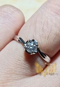 **my4angels23**Authentic 18k White Gold Diamond Solitaire Engagement Ring.