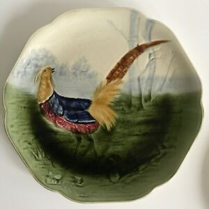 Choisy le Roi Fine earthenware plate with pheasant faience 1900 french pottery
