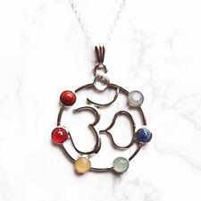 Chakra Amethyst Gemstone Crystal Pendant Plated Ohm Silver Necklace Jewellery