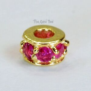4.8mm 18k Solid Yellow Gold Ruby Eternity Rondelle Spacer Finding Bead
