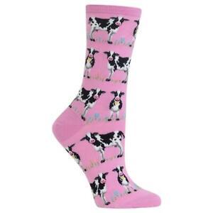 Happy Cows Hot Sox Women's Crew Socks Lilac New Colorful Novelty Bovine Fashion